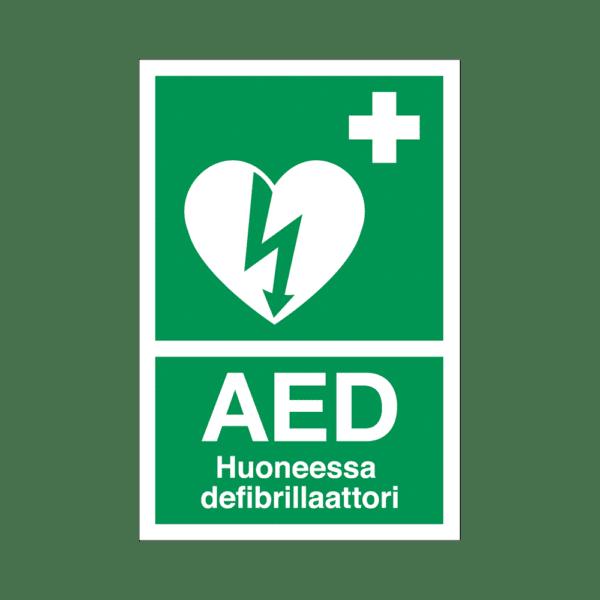 AED-defibrillaattorin opastekyltti, huonekohtainen