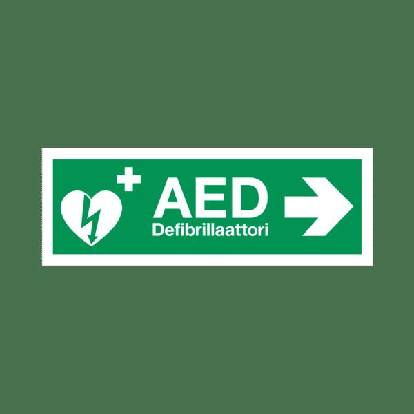AED-defibrillaattorin paikannuskyltti, nuoli oikalle