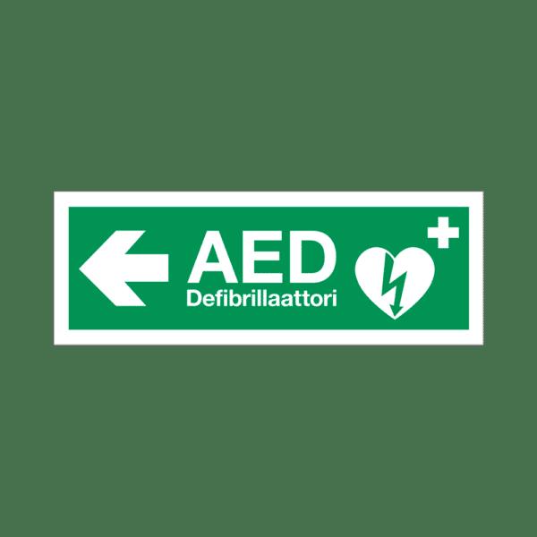 AED-defibrillaattorin paikannuskyltti, nuoli vasemmalle