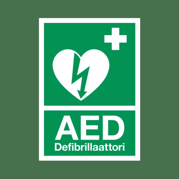 AED-defibrillaattorin opastekyltti